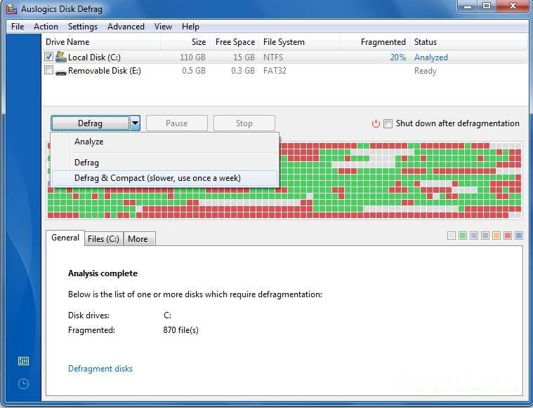дефрагментация диска на Windows с помощью AusLogics Disc Defrag