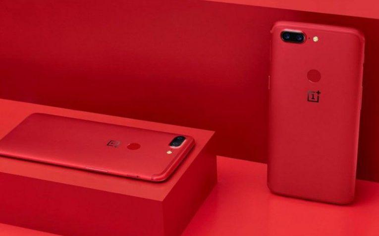 красные смартфоны OnePlus 5T Lava Red