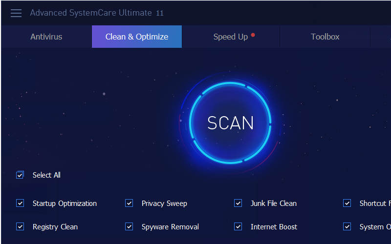 оптимизация Windows 10 с помощью Advanced SystemCare