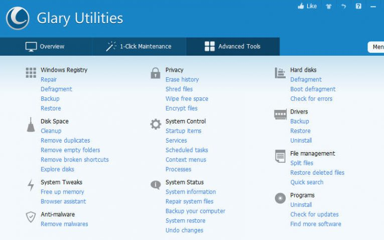 оптимизация Windows 10 с помощью Glary Utilities