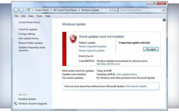 ошибка обновления Windows 7