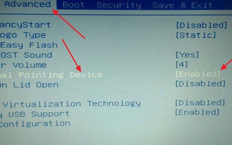 Как отключить тачпад на ноутбуке с помощью BIOS