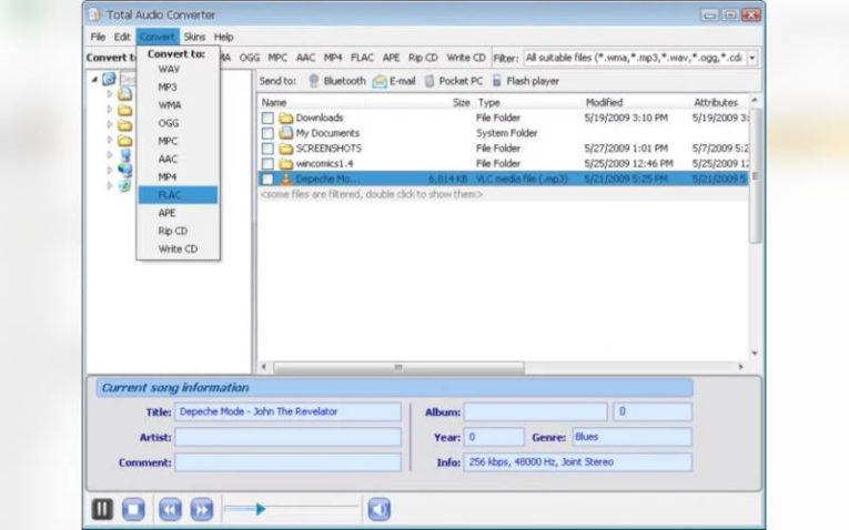 изменить формат файлов с помощью Total Audio Converter