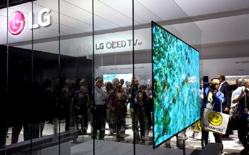 A 77-inch LG Signature W OLED television is displayed during the 2017 CES in Las Vegas