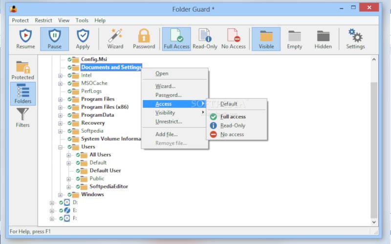 поставить пароль на папку с помощью Folder Guard