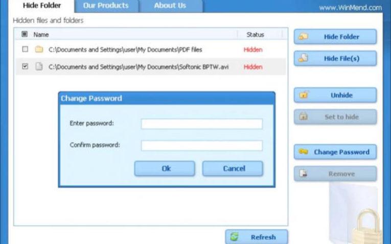 поставить пароль на папку с помощью Folder Hidden