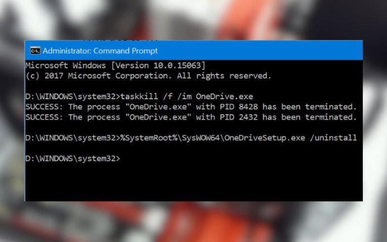 как удалить OneDrive в Windows