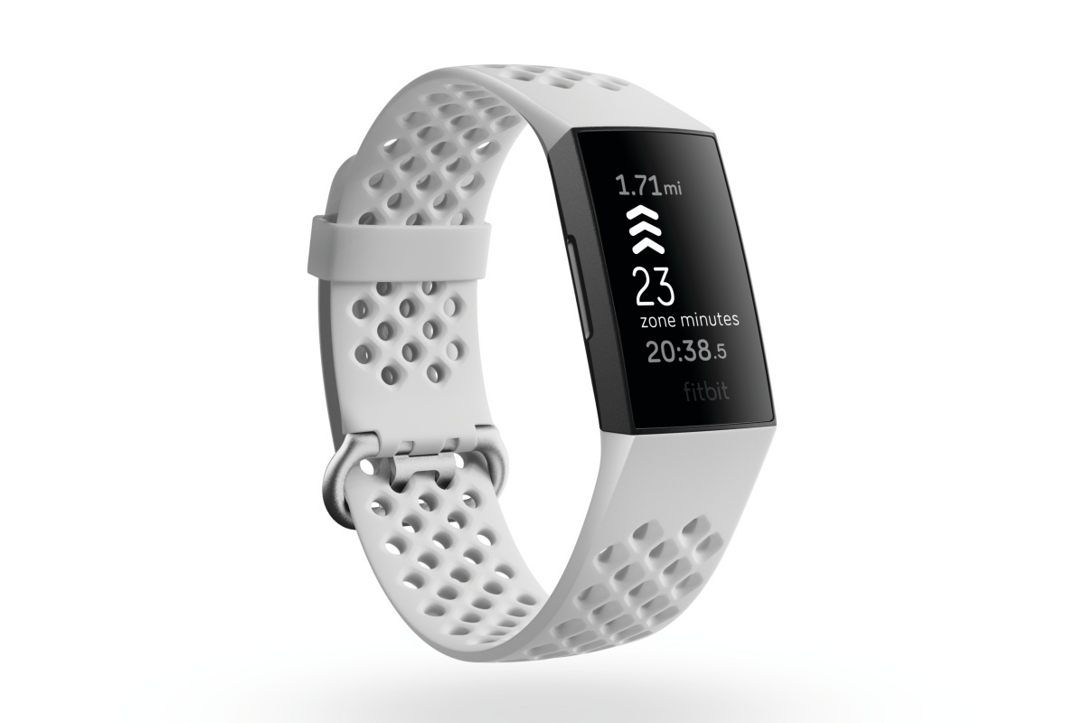 Product render of Fitbit Charge 4, 3QTR view, in Frost White sport and Black.